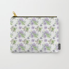 Succulents Pattern Purple and Green Carry-All Pouch