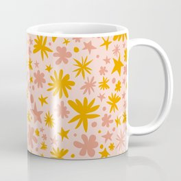 Cute Pattern with Stars, Flowers, Polka Dots and Hearts - Floral Illustration Coffee Mug