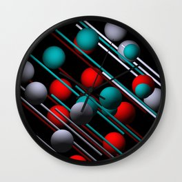 3 colors on black Wall Clock