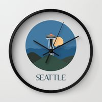 seattle Wall Clocks featuring Seattle by uzualsunday