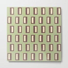 Chad Pattern Sage Green and Brown Metal Print