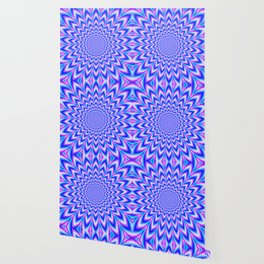 Psychedelic Pulse in Blue and Pink Wallpaper