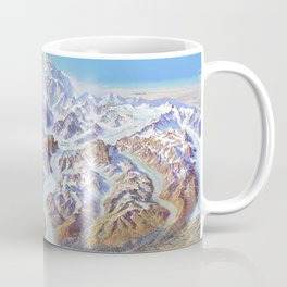 Heinrich Berann - Panoramic Painting of Denali National Park with labels (1994) Coffee Mug