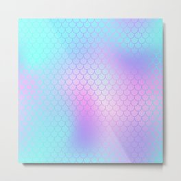 Turquoise Pink Mermaid Tail Abstraction Metal Print