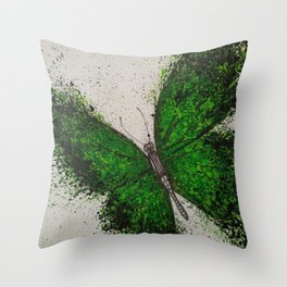 Emerald Butterfly Throw Pillow