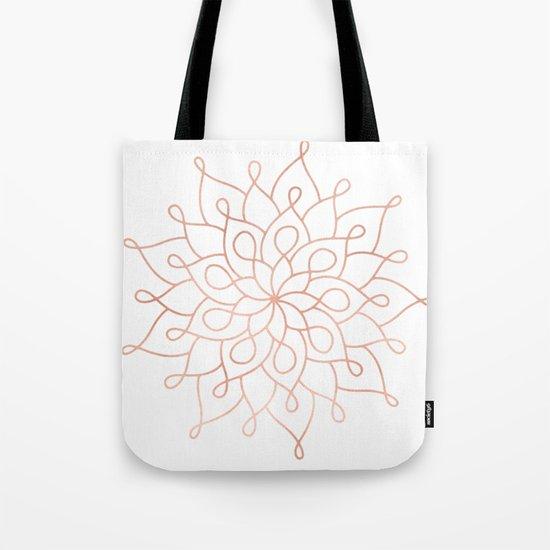 Mandala Rose Gold Pink Star Tote Bag