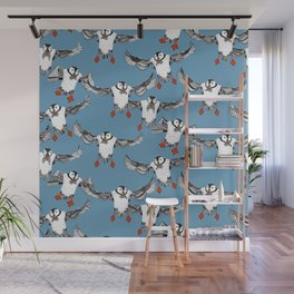 Atlantic Puffins blue Wall Mural