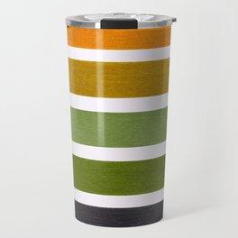 Olive Green & Hazel Brown Geometric Pattern Travel Mug