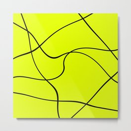 """Abstract lines"" - Black on green Metal Print"