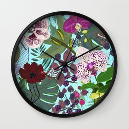 Orchid and Cosmos Flower Botanical Floral Pattern Wall Clock