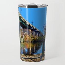 Down By The Bridge In Fall - Conway SC Main Street Bridge Travel Mug