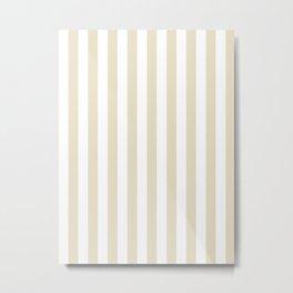 Narrow Vertical Stripes - White and Pearl Brown Metal Print
