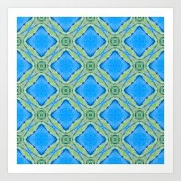 Beach Diamond Pattern — Blue Art Print