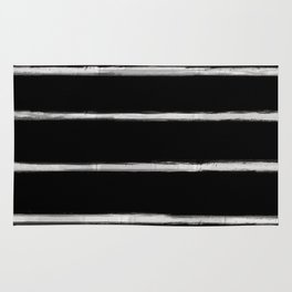 Skinny Strokes Gapped Horizontal Off White on Black Rug