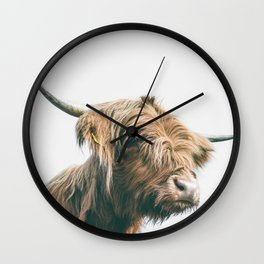Majestic Highland cow portrait Wall Clock