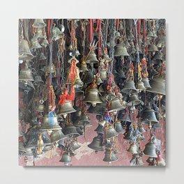 Colorful Indian Hanging Prayer Bells, India Metal Print