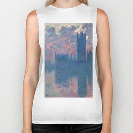 "Claude Monet ""The Houses of Parliament, at sunset"" Biker Tank"