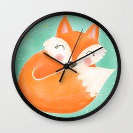 Sweet Sleeping Fox Wall Clock
