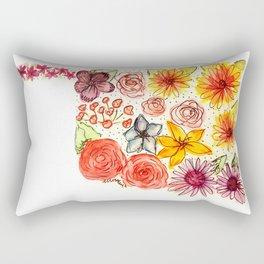 Hand Painted Oklahoma State Map Rectangular Pillow