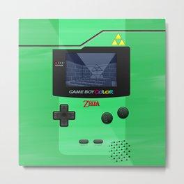 Gameboy Color Zelda Triforce Logo Metal Print