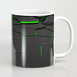Black fractured surface with green glowing lines Coffee Mug