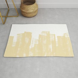Rolled Ink Texture in Soft Yellow and White Rug