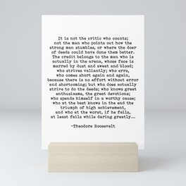 Man In The Arena Theodore Roosevelt Quote Mini Art Print