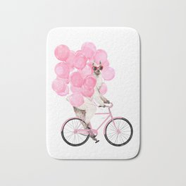 Riding Llama with Pink Balloons #1 Bath Mat