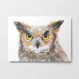 Owl Great Horned Owl Watercolor Metal Print