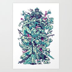 Teenage Zombie Ninja Turtles Art Print