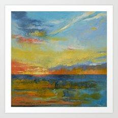Turquoise Blue Sunset Art Print