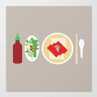 sriracha Canvas Prints featuring Sriracha Meal by I Ate My Pencil