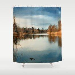 SUNSET AT LAKE Shower Curtain
