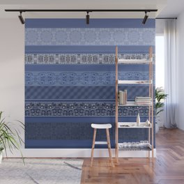 Blue striped patchwork Wall Mural