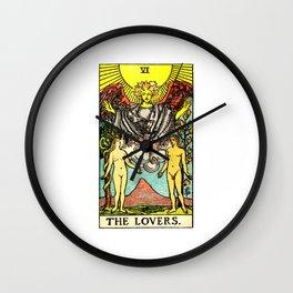 Vintage Tarot Card The Lovers Wall Clock