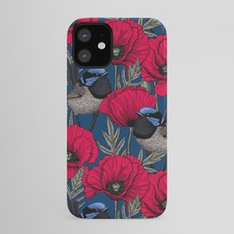Fairy wren and poppies iPhone Case
