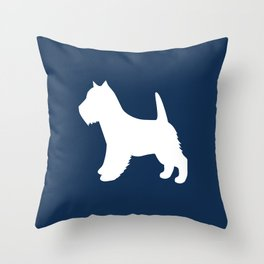 Westie (Navy/White) Throw Pillow