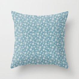 Christmas Icy Blue Velvet Snow Flakes Throw Pillow