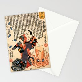 A Cat dressed as a Woman tapping the Head of an Octopus by Utagawa Kuniyoshi Stationery Cards
