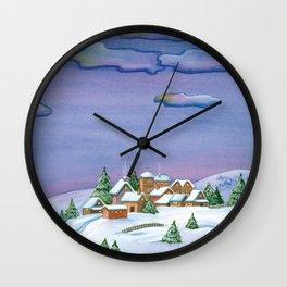 Landscape of a winter night Wall Clock