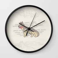 german shepherd Wall Clocks featuring The German Shepherd by TangerineCafé