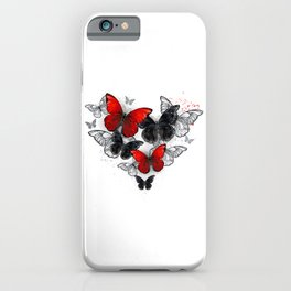 Realistic Black and Red Morpho Butterflies iPhone Case