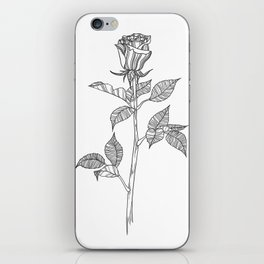Rose with Tarot Suits / Botanical Line Drawing iPhone Skin