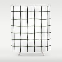 grid Shower Curtains featuring Grid by Tiffany Wong Art