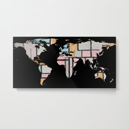 World Map Silhouette - Abstract Piet Mondrian Metal Print