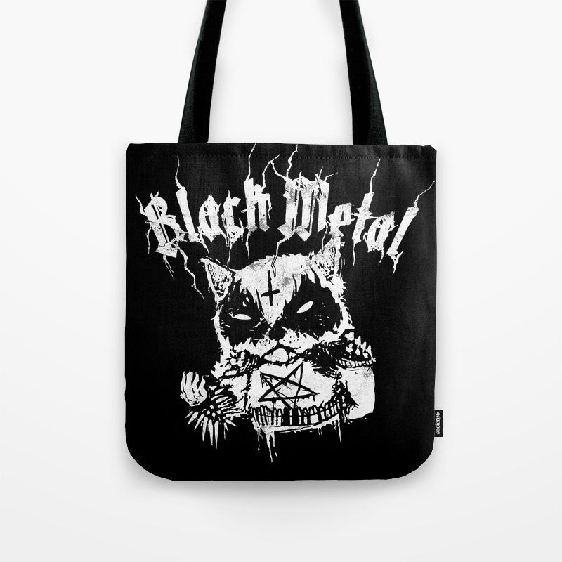 Grim Black Metal Corpse Paint Racoon Tote Bag