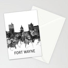 Fort Wayne Indiana Skyline BW Stationery Cards