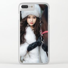 Woman with Horse Clear iPhone Case