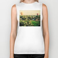 hot air balloons Biker Tanks featuring Hot Air Balloons Before Mountains  by Limitless Design
