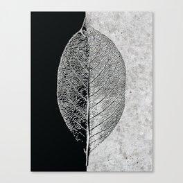 Natural Outlines - Leaf Black & Concrete #768 Canvas Print